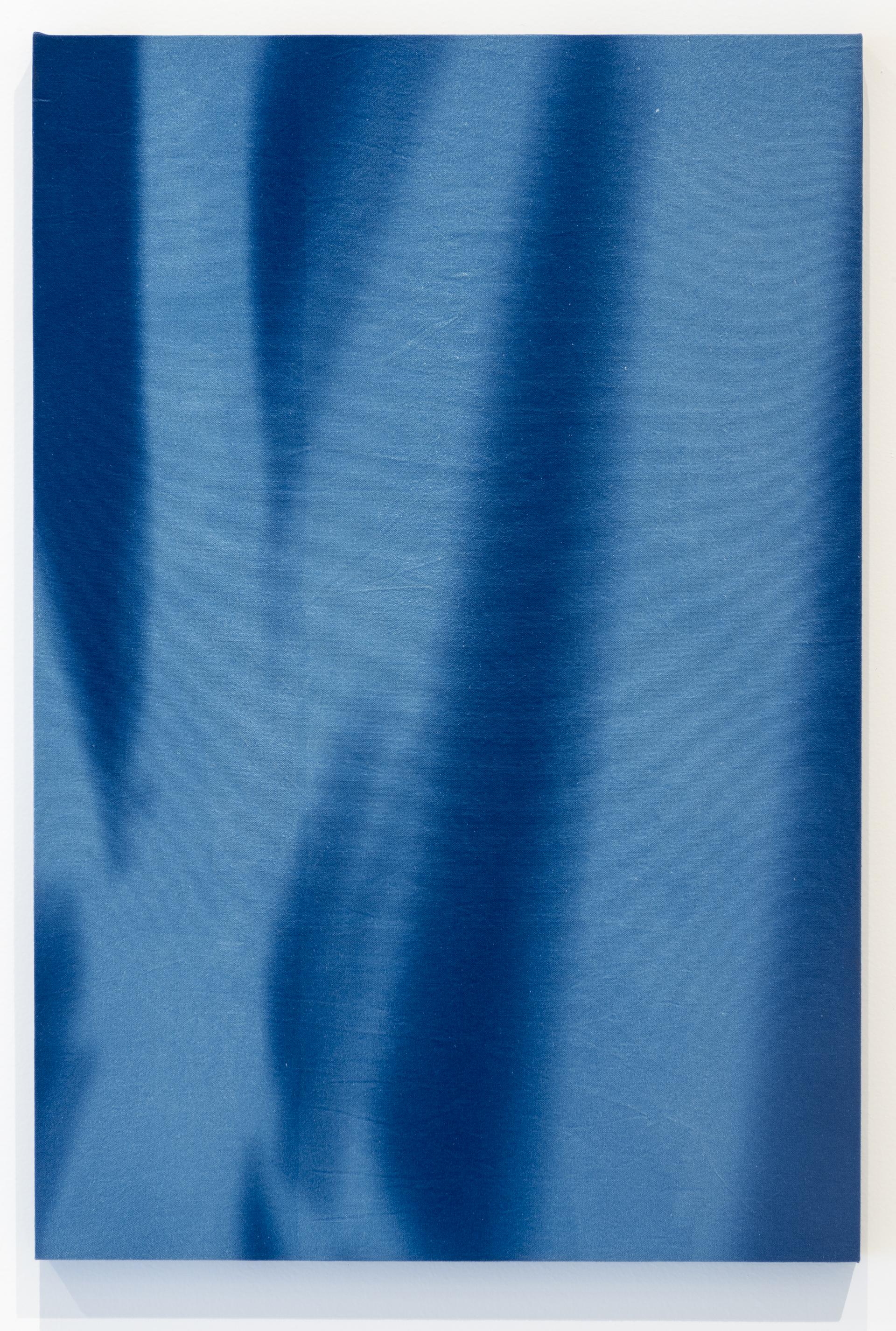 """""""26 de Agosto 2015, 11:06 h. Torre Sur Museo del Chopo, tiempo de exposición13 min"""" Cianotipia sobre tela montado sobre bastidor  90x60 cm (35 x 23"""")"""